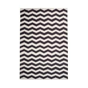 Bavlnený koberec Chevron Ivory/Black, 120x180 cm