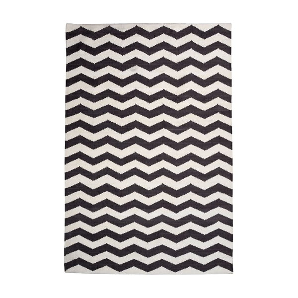 Bavlnený koberec Chevron Ivory/Black, 160x230 cm