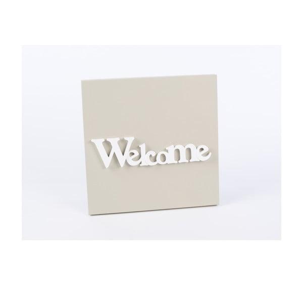 Drevený obraz Welcome 30x30 cm, béžový