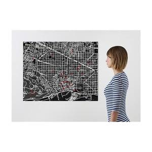 Čierna nástenná mapa Palomar Pin Barcelona