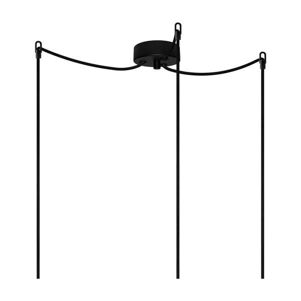 Čierne závesné svietidlo s 3 káblami Bulb Attack Cero Basic