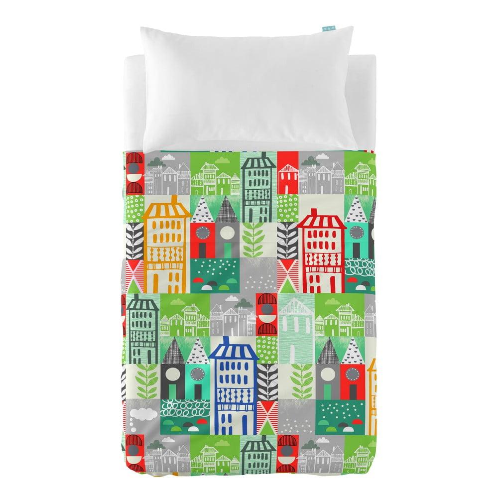 Prikrývka a obliečka na vankúš Moshi Moshi Little Village, 100 × 135 cm