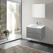 Kúpeľňová skrinka s umývadlom a zrkadlom Flopy, odtieň sivá, 60 cm