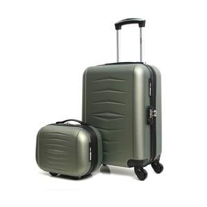 Set sivého cestovného kufora na kolieskach a kufríka INFINITIF