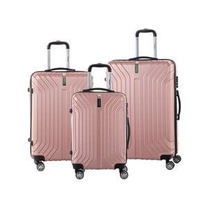 Sada 3 svetloružových cestovných kufrov na kolieskách so zámkom SINEQUANONE