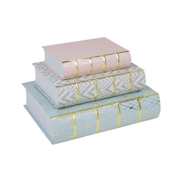 Sada 3 úložných boxov v tvare knihy Stockholm