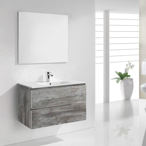 Kúpeľňová skrinka s umývadlom a zrkadlom Happy, vintage dekor, 80 cm