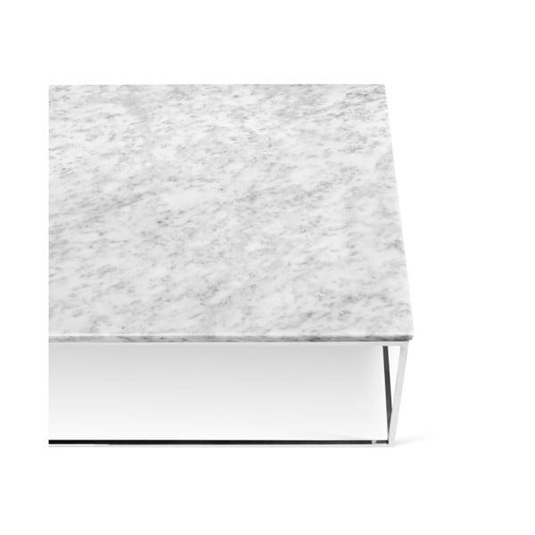 Biely mramorový konferenčný stolík s chrómovými nohami TemaHome Gleam, 120cm