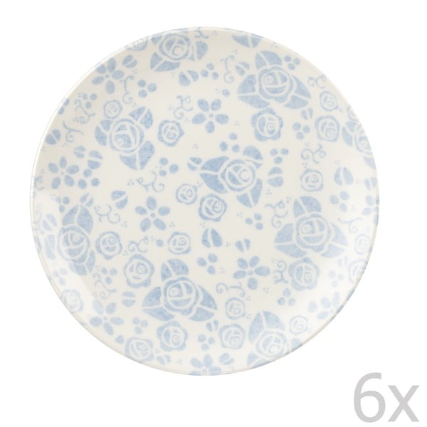 Sada 6 dezertných tanierov Fledgling White, 20 cm