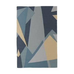 Ručne tkaný modrý vlnený koberec so žltými detailmi Art For Kids Graphic, 160 x 230 cm