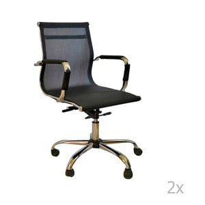 Sada 2 čiernych kancelárskych kolieskových stoličiek Evergreen Hous Dally