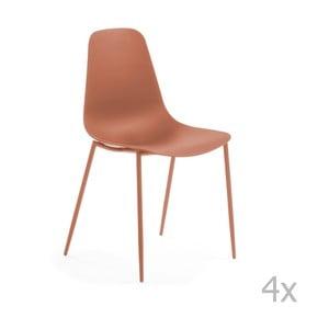Sada 4 tmavooranžových jedálenských stoličiek La Forma Wass