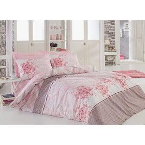 Ružové bavlnené obliečky s plachtou na dvojlôžko Sonya Powder, 200 x 220 cm