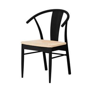 Čierna jedálenská stolička z dubového dreva Interstil Janik