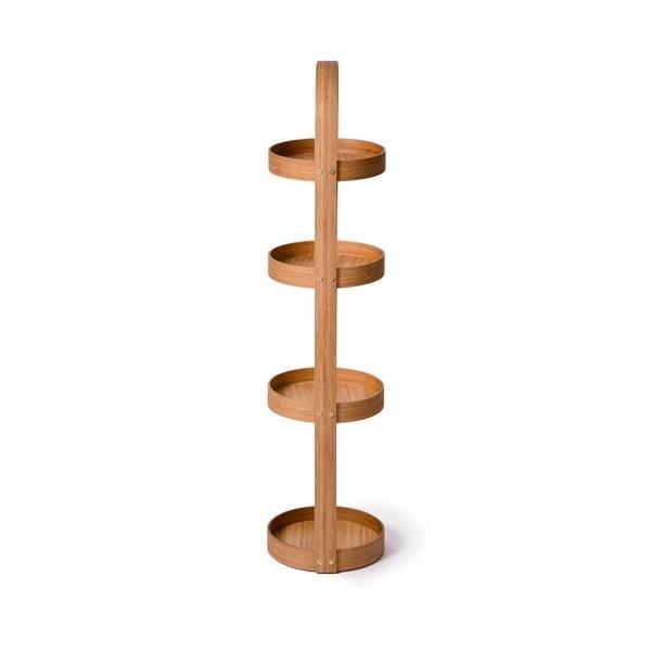 Guľatý štvorposchodový stojan do kúpeľne Caddy Bamboo