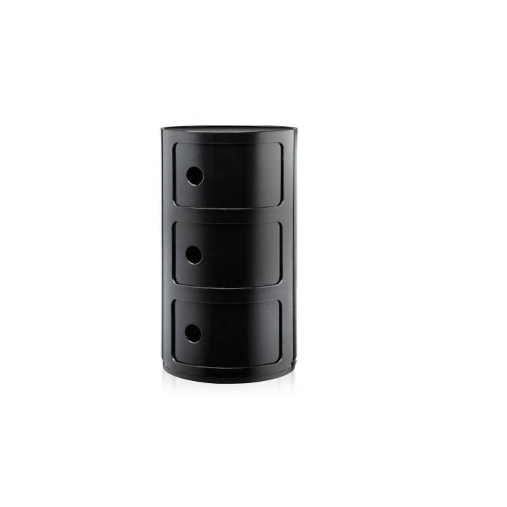 Čierny kontajner s 3 zásuvkami Kartell Componibili