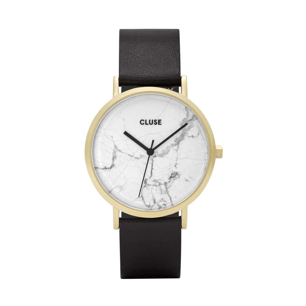 Dámske hodinky s čiernym koženým remienkom a bielym mramorovým ciferníkom Cluse La Roche Star
