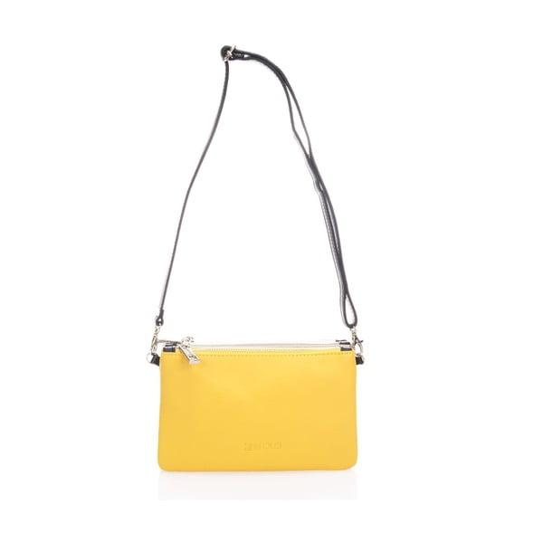 Kožená kabelka Krole Kody se třemi kapsičkami, žltá
