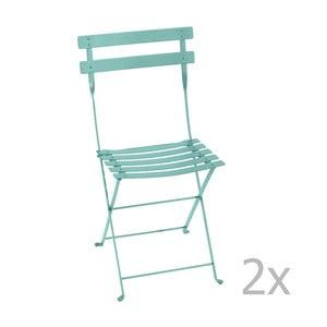 Sada 2 nebeskymodrých skladacích stoličiek Fermob Bistro