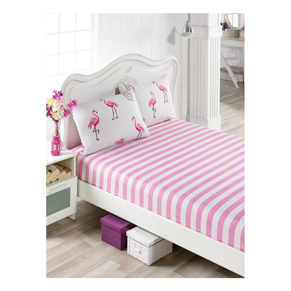 Set ružovej plachty a 2 obliečok na vankúše na jednolôžko Flamingos, 100 × 200 cm
