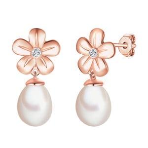 Strieborné pozlátené náušnice s pravým diamantom a perlou Tess Diamonds Danielle