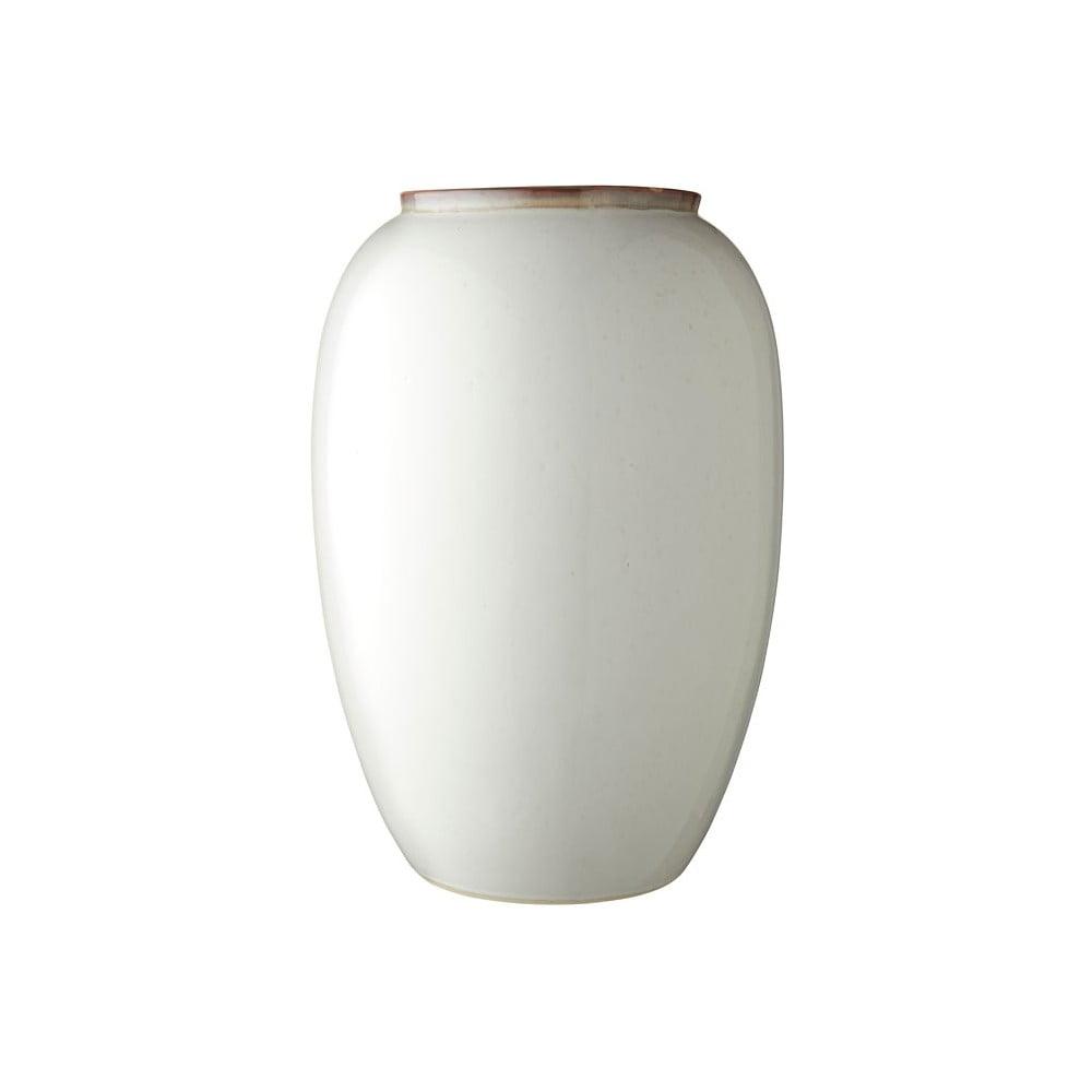 Krémovo-biela kameninová váza Bitz Basics Cream, výška 50 cm