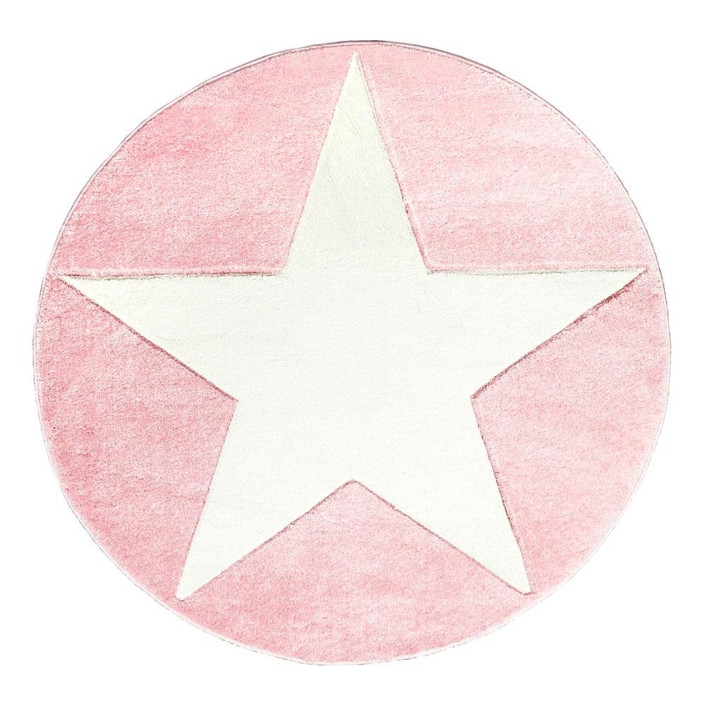 Ružový detský koberec Happy Rugs Round, Ø 133 cm