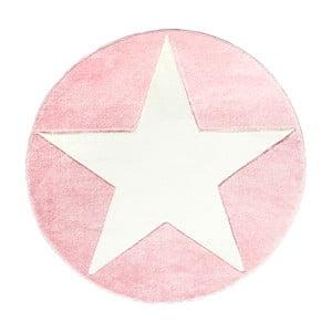 Ružový detský koberec Happy Rugs Round, Ø 133cm