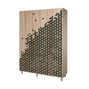 Trojdverová šatníková skriňa Mode Geometry Green, 135×192 cm