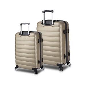 Sada 2 cestovných kufrov na kolieskach s USB porty v zlatej farbe My Valice RESSNO Cabin & Medium
