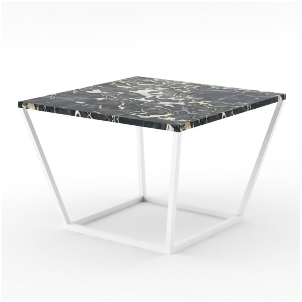 Malý čierny konferenčný stôl z mramoru s bielou podnožou Absynth Noi Italy