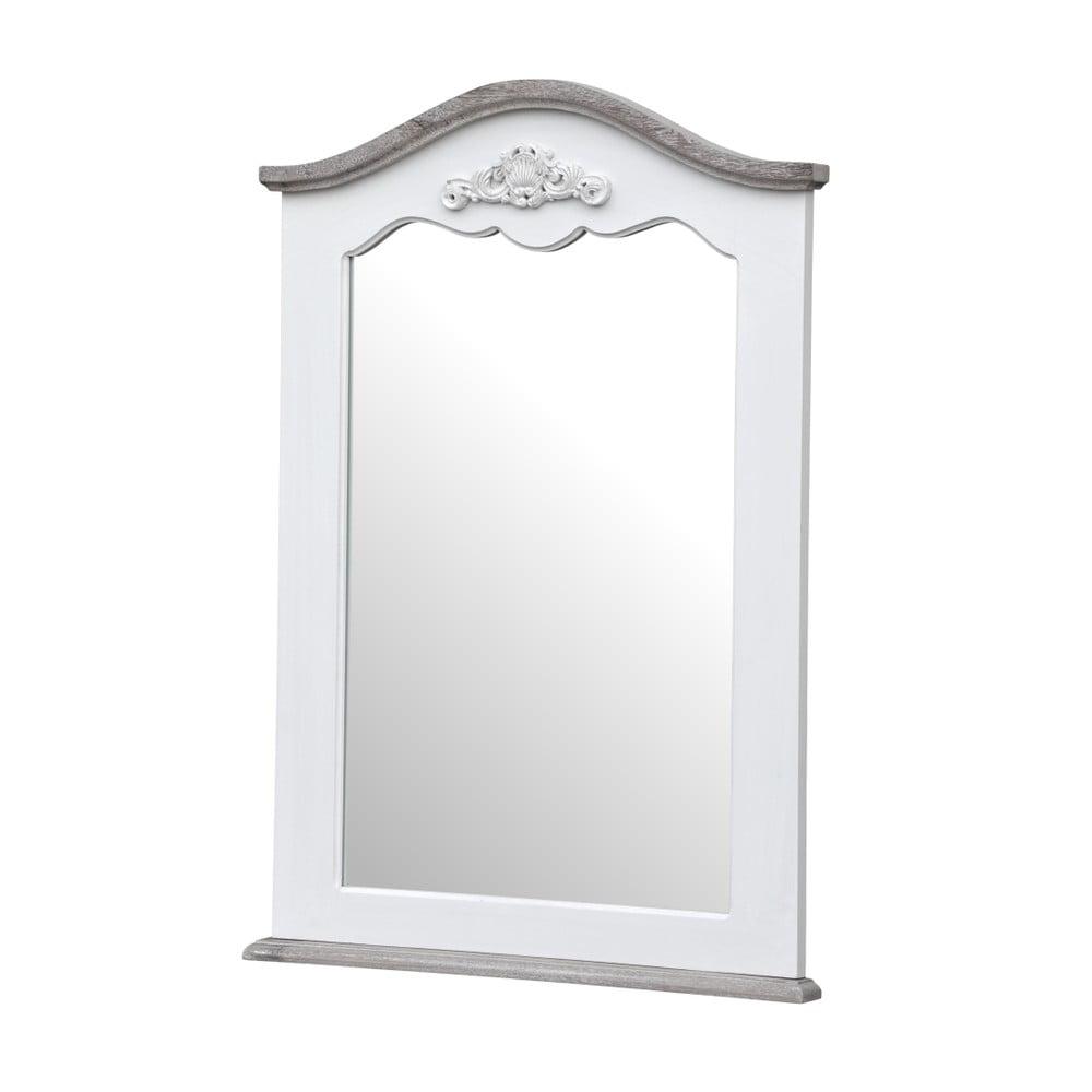Biele nástenné zrkadlo z topoľového dreva s prírodnými detailmi Livin Hill Rimini, 60 × 85 cm
