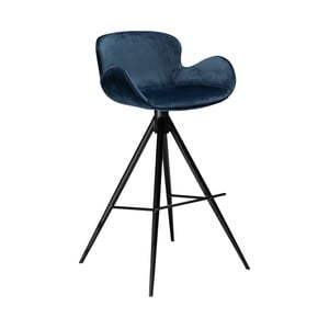 Tmavomodrá barová stolička DAN–FORM Denmark Gaia Velvet, výška 98 cm