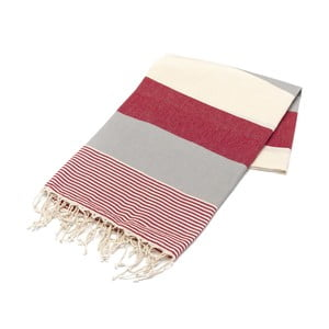 Hammam osuška American Stripes Red & Grey, 100 x 180 cm