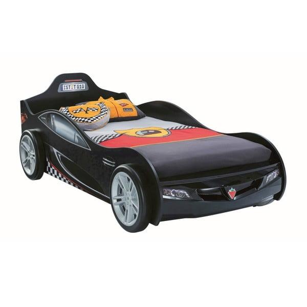 Čierna detská posteľ v tvare auta Coupe Carbed Black, 90 × 190 cm