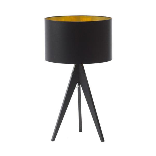 Čierno-zlatá stolová lampa Artist, čierna lakovaná breza, Ø 33 cm
