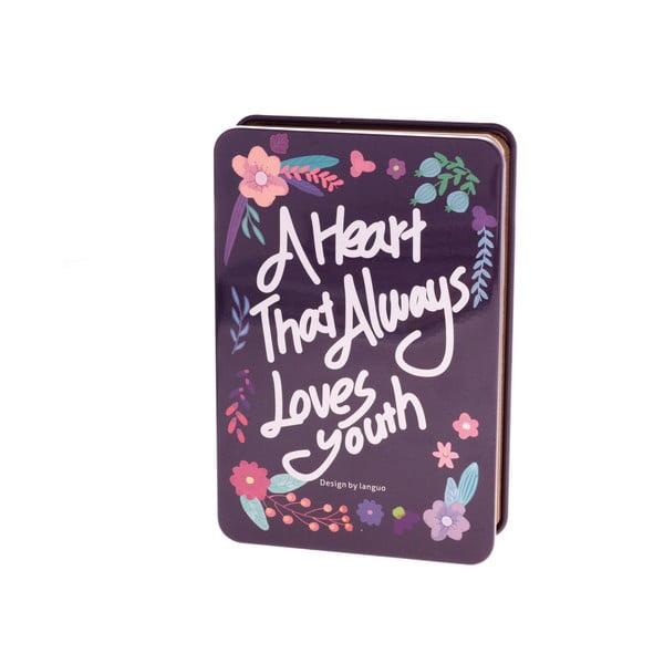 Plechový zápisník Languo Love, tmavomodrý