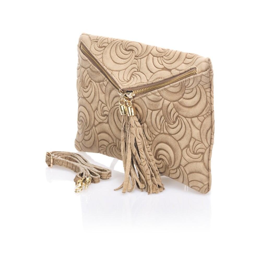 82010b7796 Béžová kožené listová kabelka Lisa Minardi Faire ...