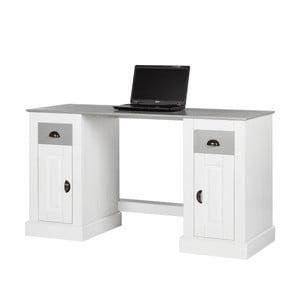 Biely pracovný stôl z borovicového dreva s 2 dvierkami Støraa Tommy