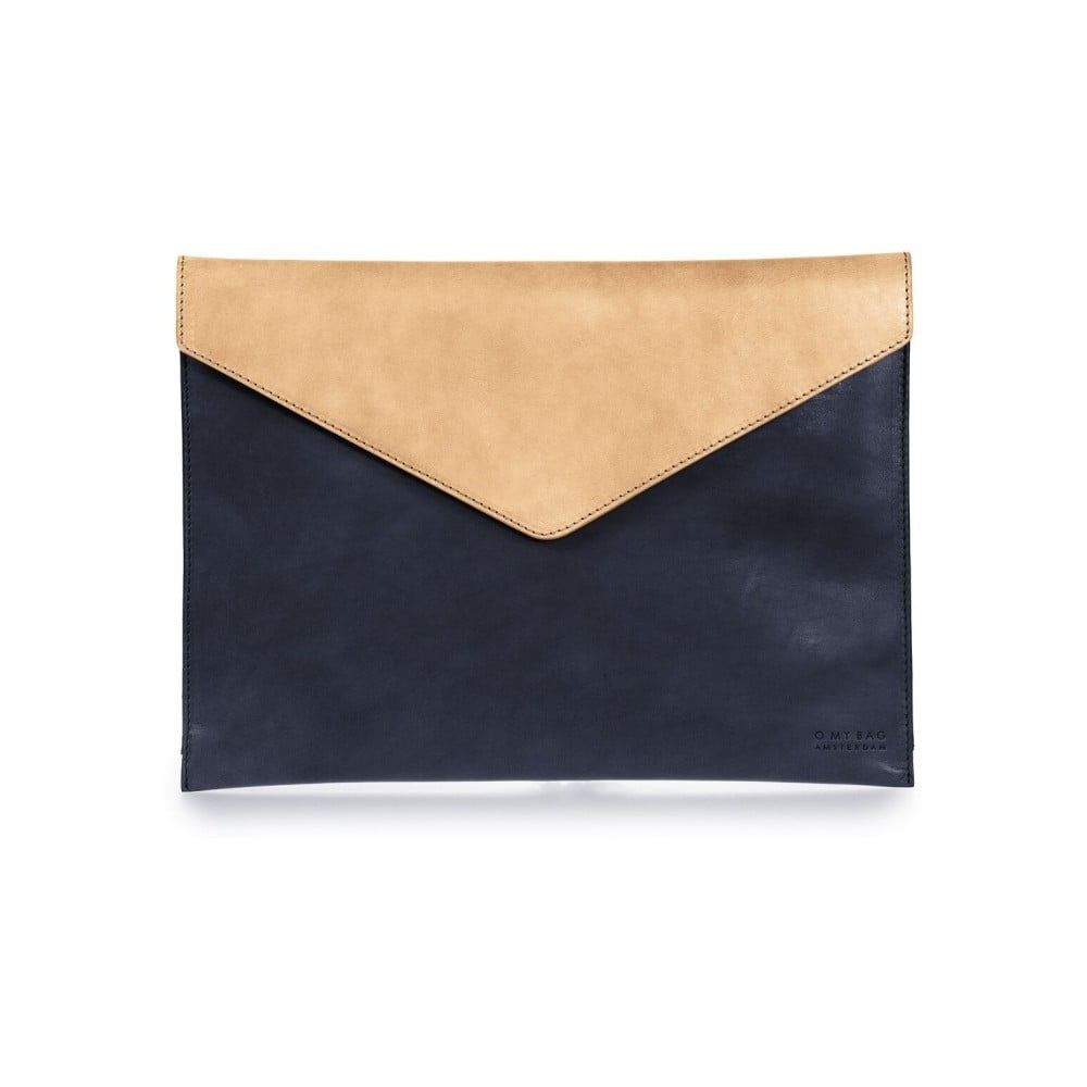 """Béžovo-modrý kožený obal na notebook 13"""" v tvare obálky O My Bag"""