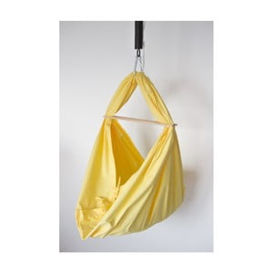 Žltá kolíska z bavlny so zavesením do dverí Hojdavak Baby XL (0 až 9 mesiacov)