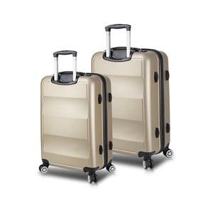 Sada 2 cestovných kufrov na kolieskach s USB porty v zlatej farbe My Valice LASSO Cabin & Medium