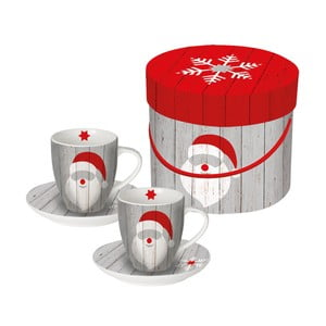 Sada 2 porcelánových šálok na espresso s vianočným motívom v darčekovom balení PPD Santa On Wood, 100 ml