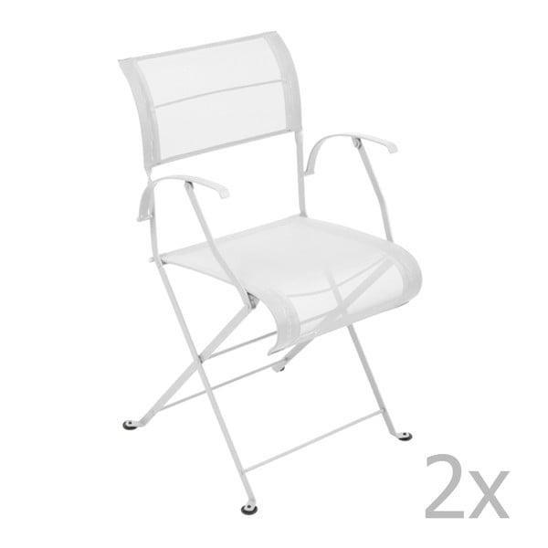 Sada 2 bielych skladacích stoličiek s opierkami na ruky Fermob Dune