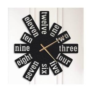 Čierne kovové nástenné hodiny Eleanor