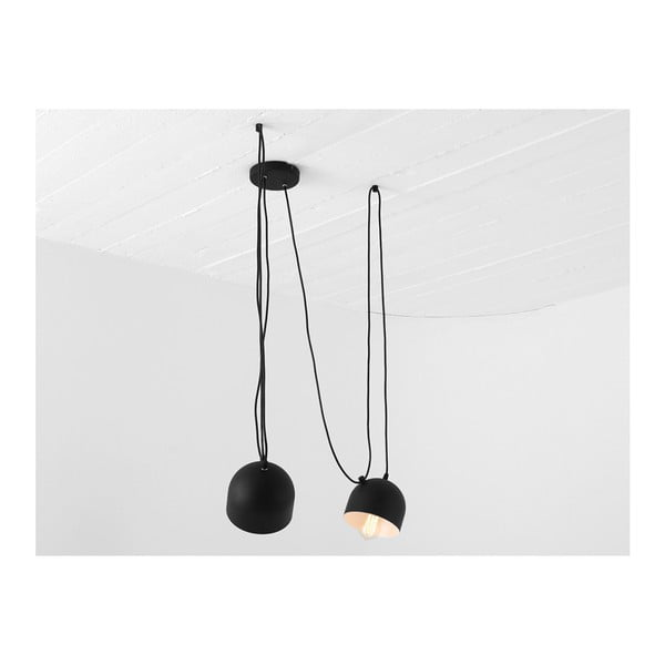 Čierne závesné svietidlo na 2 žiarovky Custom Form Popo