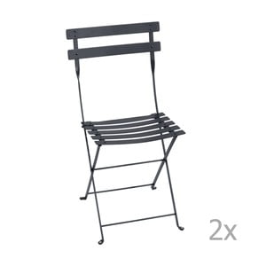 Sada 2 antracitovosivých skladacích záhradných stoličiek Fermob Bistro