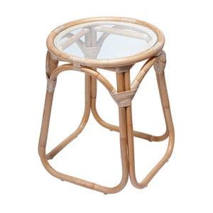 Ratanový odkladací stolík so sklenenou doskou RGE Marseille, ⌀ 50 cm