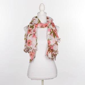 Šatka/pareo BLE Inart 100x180 cm, ružové kvetiny
