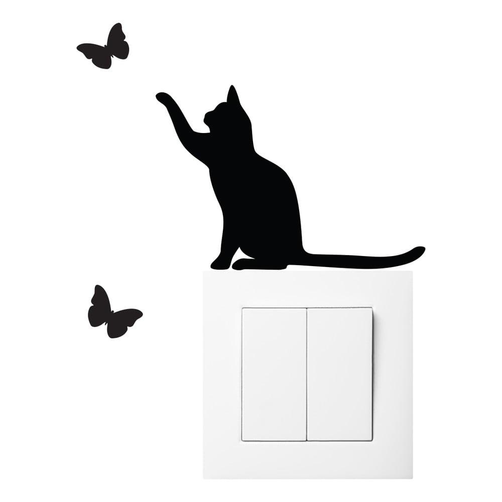 Čierna samolepka na vypínač Ambiance Cat
